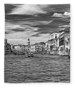 The Grand Canal - Paint Bw Fleece Blanket