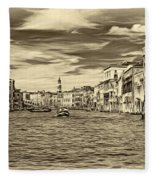 The Grand Canal - Paint Sepia Fleece Blanket