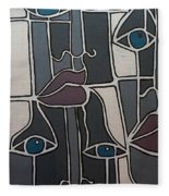 The Gray Faces Fleece Blanket