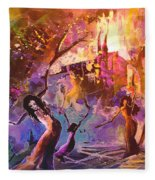 The Great Fire Of Woman Fleece Blanket
