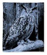 Majestic Great Horned Owl Bw Fleece Blanket