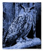 Majestic Great Horned Owl Blue Indigo Fleece Blanket