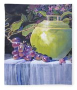 The Green Pot And Grapes Fleece Blanket