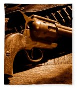 The Gun That Won The West - Sepia Fleece Blanket