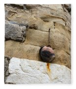 The Hanging Jar - Rough Weathered Stones Rust And Ceramics - A Vertical View Fleece Blanket