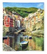 The Harbor At Rio Maggiore Fleece Blanket