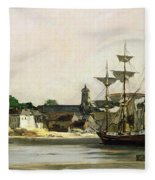 The Harbour At Honfleur Fleece Blanket