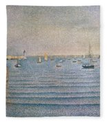 The Harbour At Portrieux Fleece Blanket