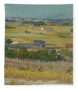 The Harvest Arles  June 1888 Vincent Van Gogh 1853  1890 Fleece Blanket