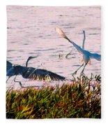 The Heron And The Egret Fleece Blanket