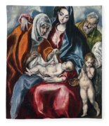 The Holy Family With Saint Anne And The Infant John The Baptist Fleece Blanket