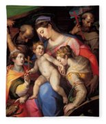 The Holy Family With St Catherine Of Alexandria, St Margaret Of Antioch And St Francis Of Assisi  Fleece Blanket