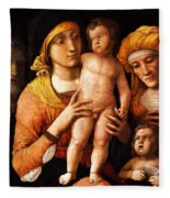 The Holy Family With St Elizabeth And St John The Baptist 1505 Fleece Blanket