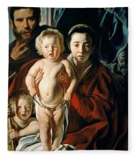 The Holy Family With St. John The Baptist Fleece Blanket