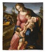 The Holy Family With The Infant Saint John The Baptist Fleece Blanket