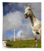 The Horse And The Chapel Fleece Blanket