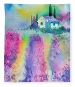 The House By The Lavender Field Fleece Blanket