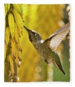 The Hummingbird And The Yellow Aloe  Fleece Blanket