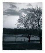 The Ice Skaters...kirby Park Pond Kingston Pa. Fleece Blanket