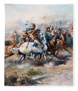 The Indian Encirclement Of General Custer At The Battle Of The Little Big Horn Fleece Blanket