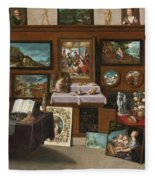 The Interior Of A Picture Gallery With Connoisseurs Admiring Paintings Fleece Blanket
