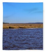 The Intracoastal Waterway In The Georgia Low Country In Winter Fleece Blanket