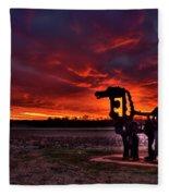 The Iron Horse Red Sky Sunset Fleece Blanket