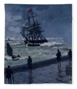 The Jetty At Le Havre In Bad Weather Fleece Blanket