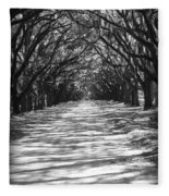Live Oaks Lane With Shadows - Black And White Fleece Blanket