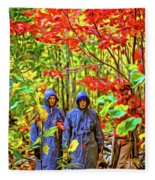 The Joys Of Autumn Camping - Paint Fleece Blanket