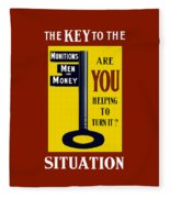 The Key To The Situation - Ww1 Fleece Blanket