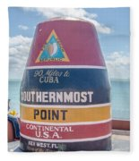 The Key West Florida Buoy Sign Marking The Southernmost Point On Fleece Blanket
