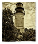 The Key West Lighthouse In Sepia Fleece Blanket