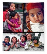 The Kids Of India Collage Fleece Blanket