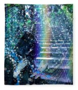 The Kindly Meeting On The Approach Up The Stairway Fleece Blanket