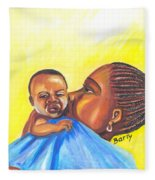 The Kiss Of A Mother In Senegal Fleece Blanket