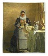 The Lace Maker  Fleece Blanket