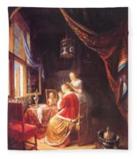 The Lady At Her Dressing Table 1667 Fleece Blanket