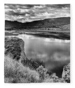 The Lake In Black And White Fleece Blanket
