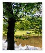 The Lake In The Park Fleece Blanket