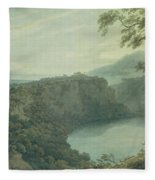 The Lake Of Nemi And The Town Of Genzano Fleece Blanket