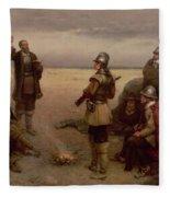 The Landing Of The Pilgrim Fathers Fleece Blanket