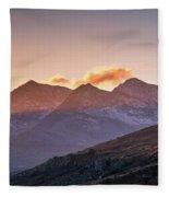 The Last Light Of The Day Over Snowdon. Fleece Blanket