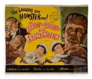 The Laughs Are Monsterous Abott An Costello Meet Frankenstein Classic Movie Poster Fleece Blanket