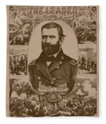 The Leader And His Battles - General Grant Fleece Blanket