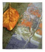 The Leaf And The Reflections Fleece Blanket