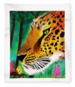 The Leopard And The Butterfly Fleece Blanket