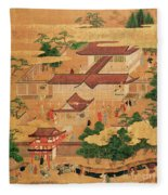 The Life And Pastimes Of The Japanese Court - Tosa School - Edo Period Fleece Blanket