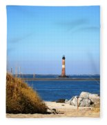 The Lighhouse At Morris Island Charleston Fleece Blanket