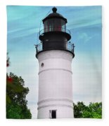 The Lighthouse At Key West Florida Fleece Blanket
